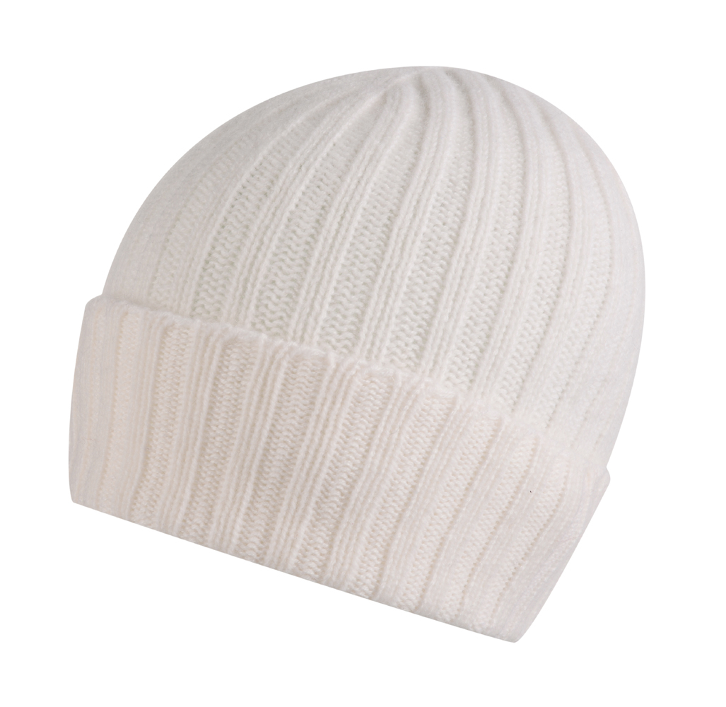 Broad Ribbed Cashmere Hat in White