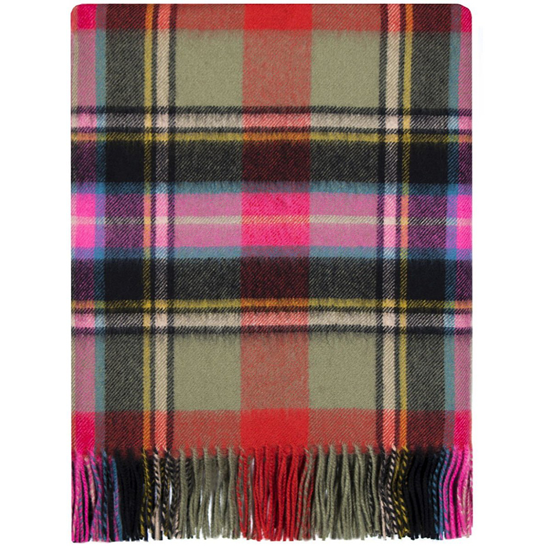 Brushed Wool Plaid Blanket in Bruce of Kinnaird Ancient
