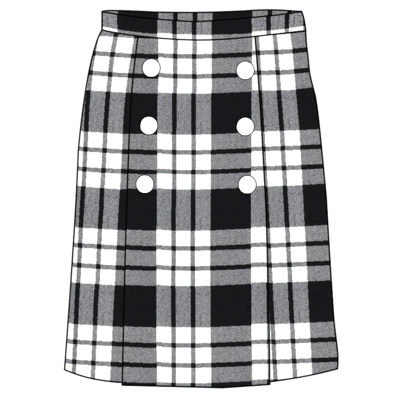 Button Detail Plaid Skirt Made To Order