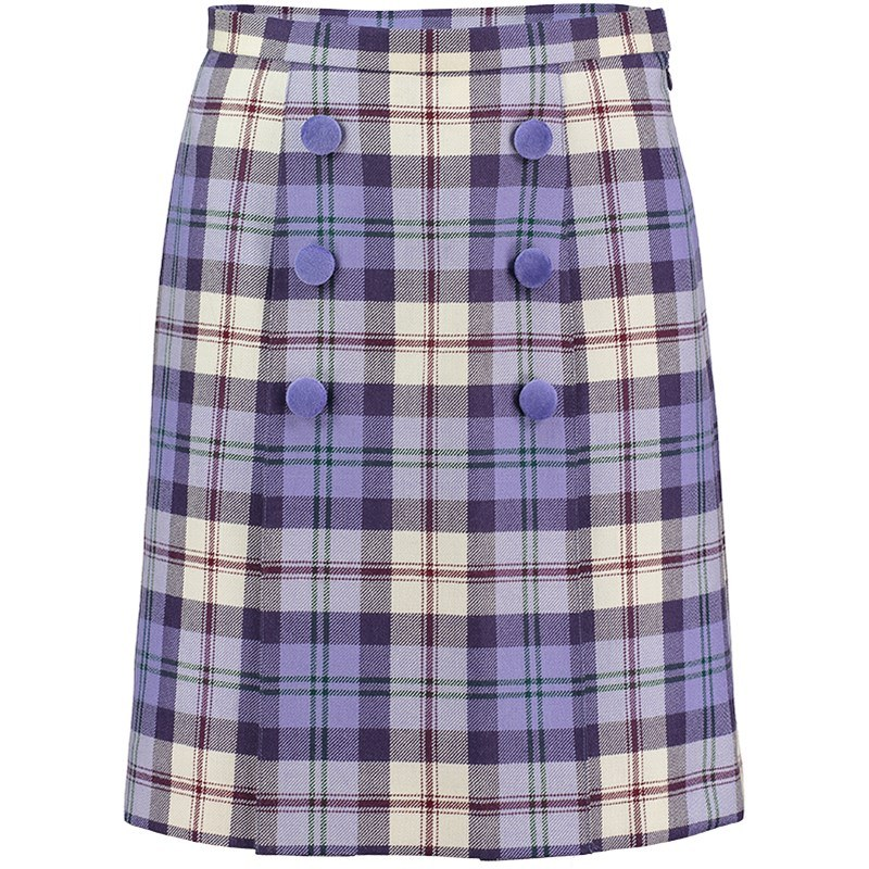 Button Detail Tartan Skirt