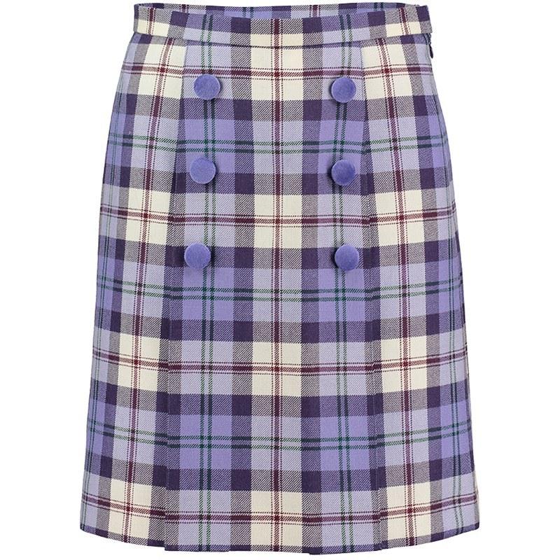 Button Detail Plaid Skirt