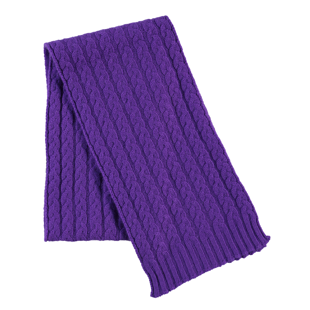 Cable Knit Cashmere Scarf in Purple