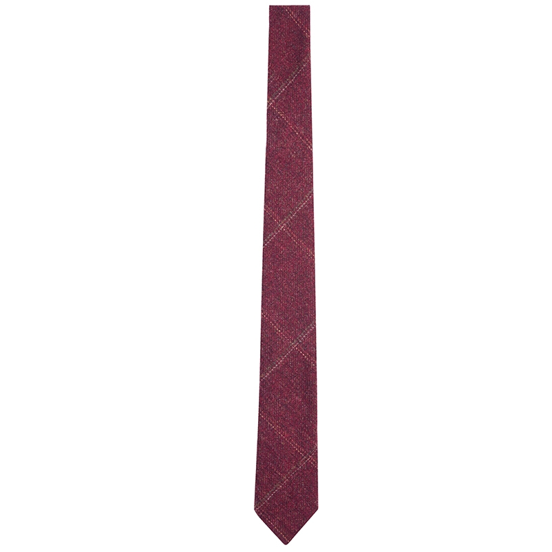 Skinny Wool Plaid Tie in Cairngorm Red Kite (CGE142)