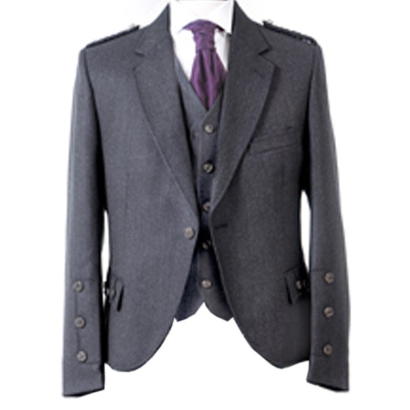 Tweed Argyll Kilt Jacket and Waistcoat in Charcoal