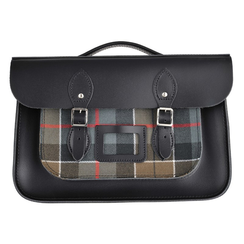 Charcoal Black Tartan And Leather Satchel