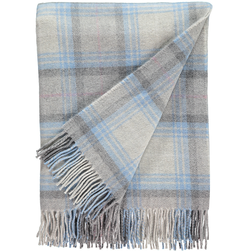 Checked Lambswool Throw in Cornflower