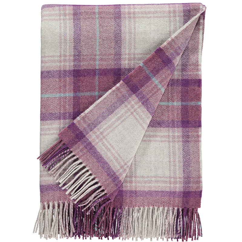 Checked Lambswool Throw in Grape
