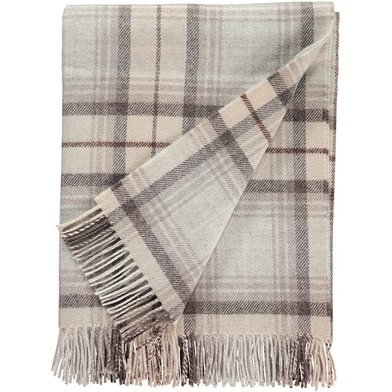 Checked Lambswool Throw in Mushroom