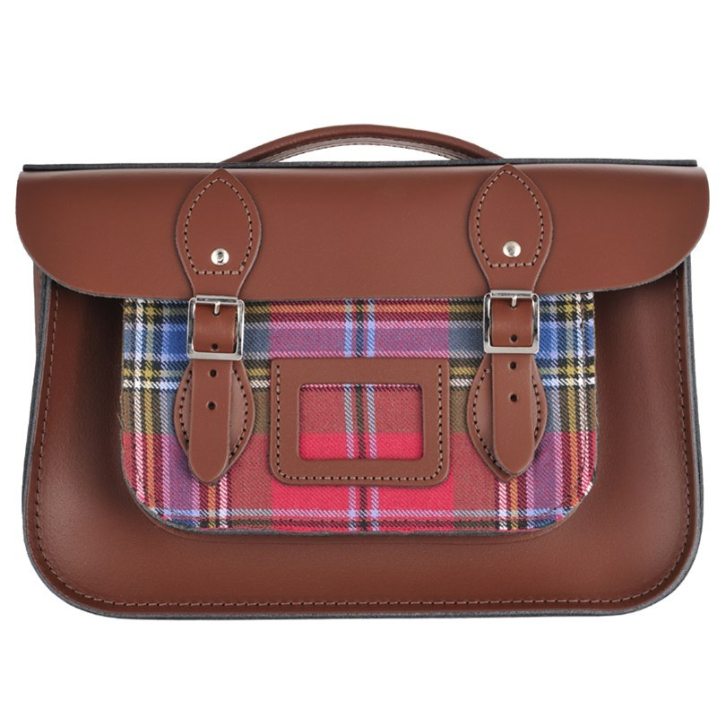 Chestnut Brown Tartan And Leather Satchel