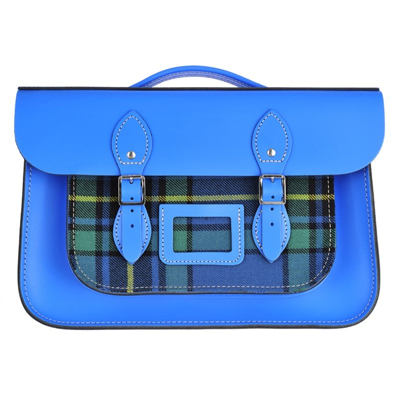 China Blue Tartan And Leather Satchel