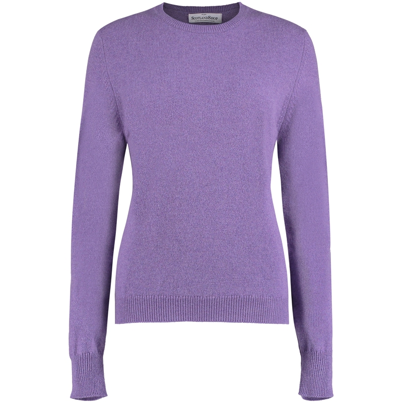 Women's Round Neck Lambswool Sweater in Clematis