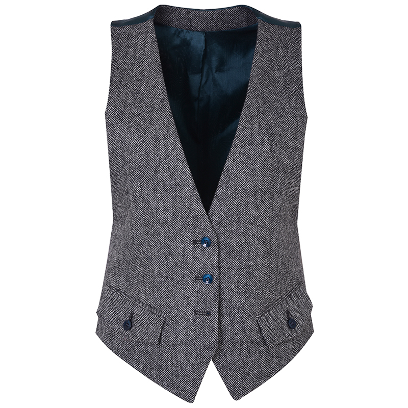 Women's Tweed Waistcoat in Cheviot Crag And White (CHE172)