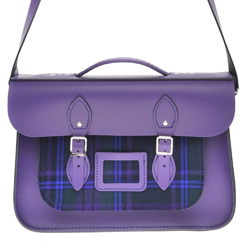 Deep Purple Tartan And Leather Satchel