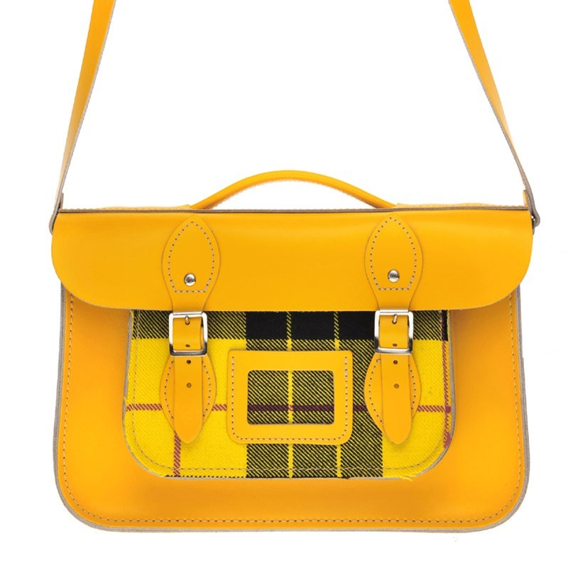Double Yellow Tartan And Leather Satchel