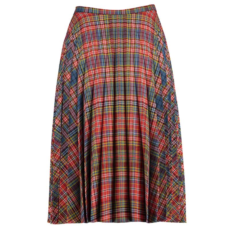 Fine Pleated Tartan Skirt Back