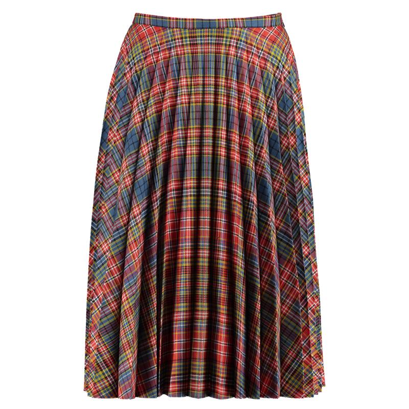 Fine Pleated Tartan Skirt Front