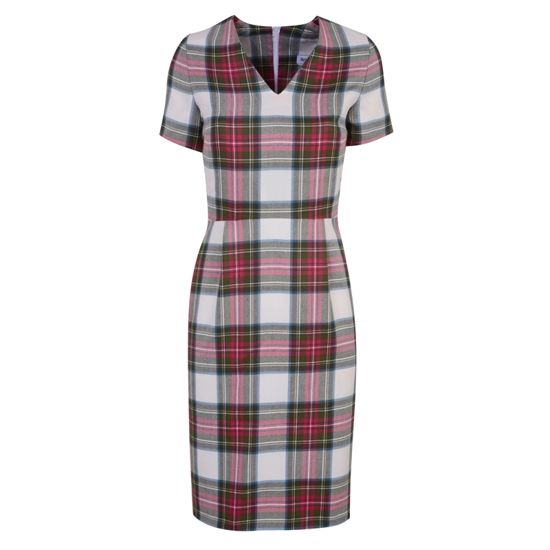 Fitted Tartan Dress in Stewart Dress Weathered