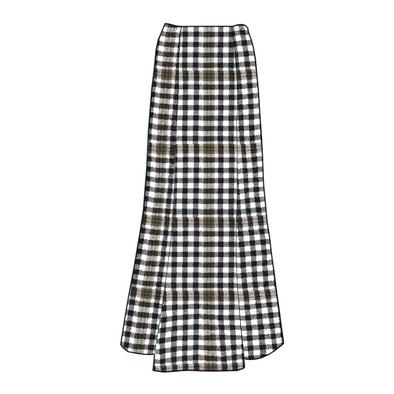 Women's Long Fluted Plaid Skirt Made To Order
