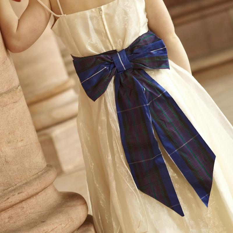 Girls Silk Tartan Sash With Bow 1