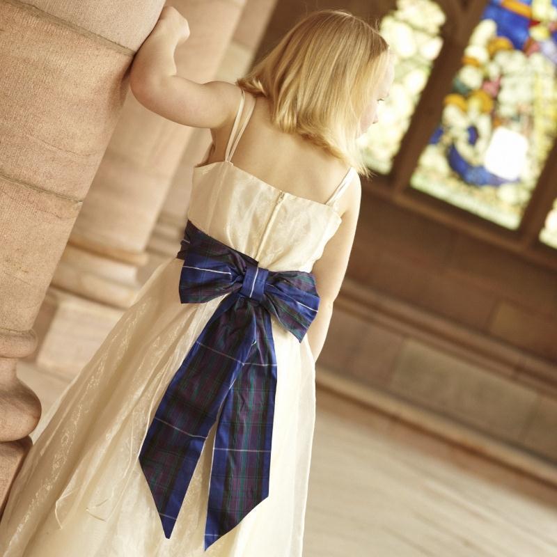 Girl's Silk Tartan Sash with Bow