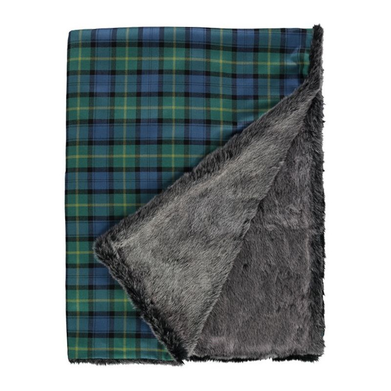 Gordon Clan Ancient Faux Fur Back Tartan Throw 1