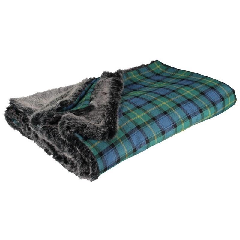 Gordon Clan Ancient Faux Fur Backed Tartan Throw 3
