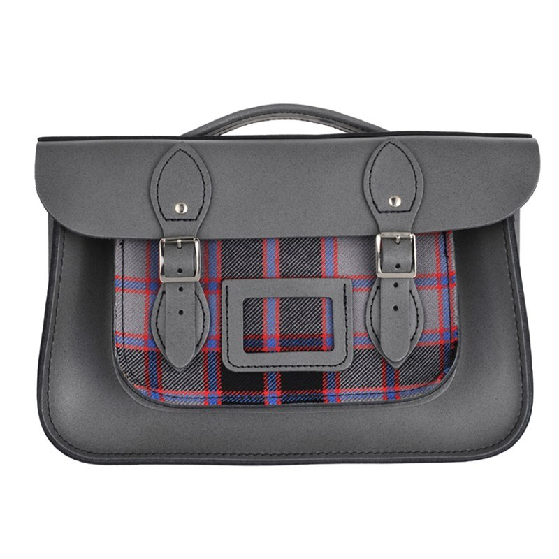 Greystoke Granite Tartan And Leather Satchel