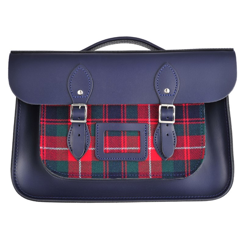 Loch Blue Tartan And Leather Satchel