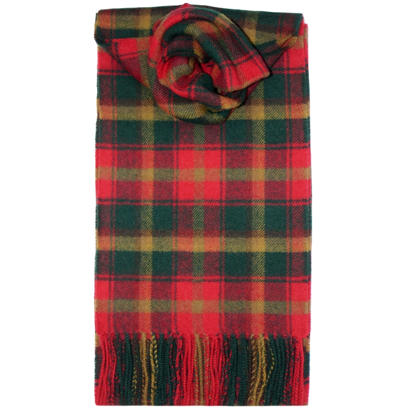 Brushed Wool Tartan Scarf in Maple Leaf
