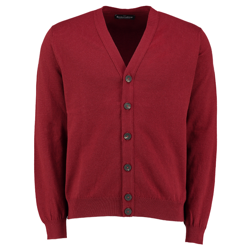 Men's Cashmere Cardigan in Cabernet Red