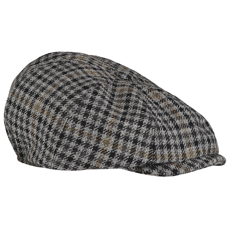 Casquette 8 panneaux en tweed ecossais in Kirkton Grey Tweed Check 580