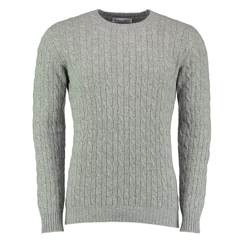 Men's Cashmere Cable Knit Sweater in Grey