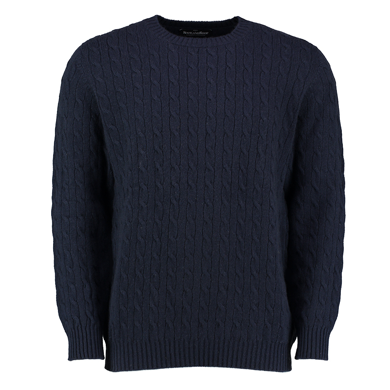 Men's Cashmere Cable Knit Sweater in Navy
