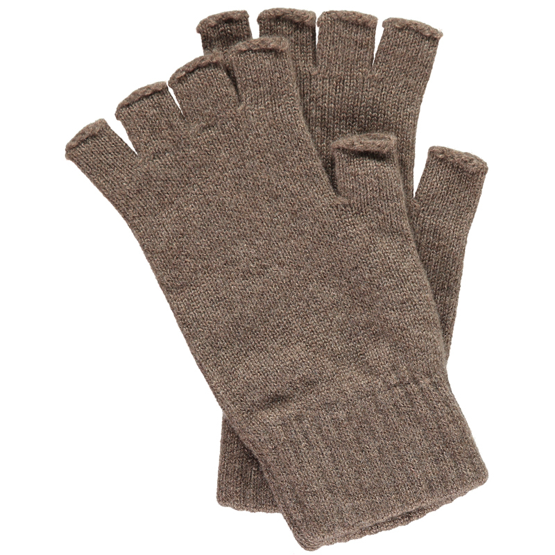 Men's Cashmere Fingerless Gloves in Otter