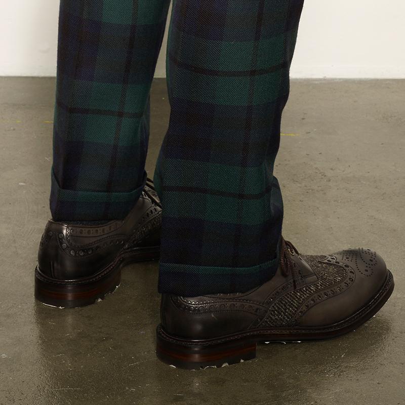 Mens Tartan Trousers Turn Up