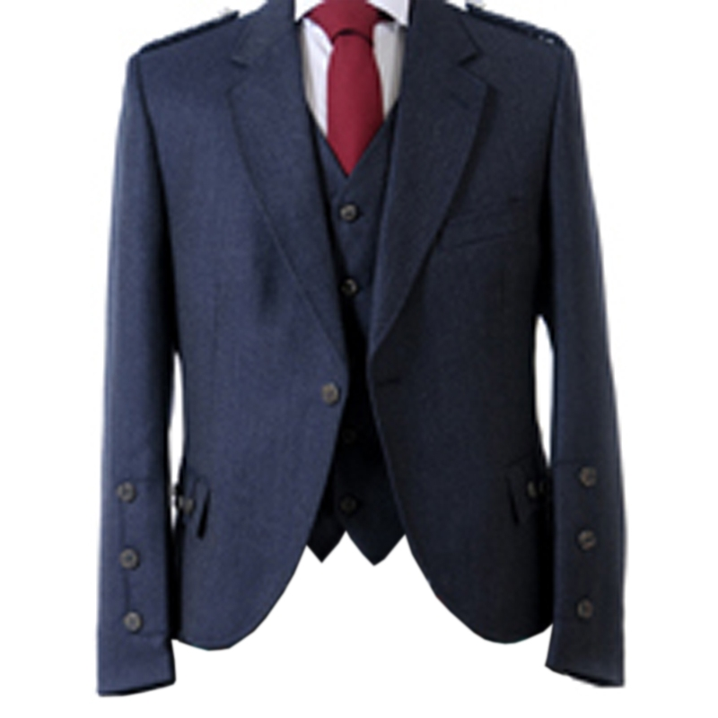 Tweed Argyll Kilt Jacket and Waistcoat in Midnight