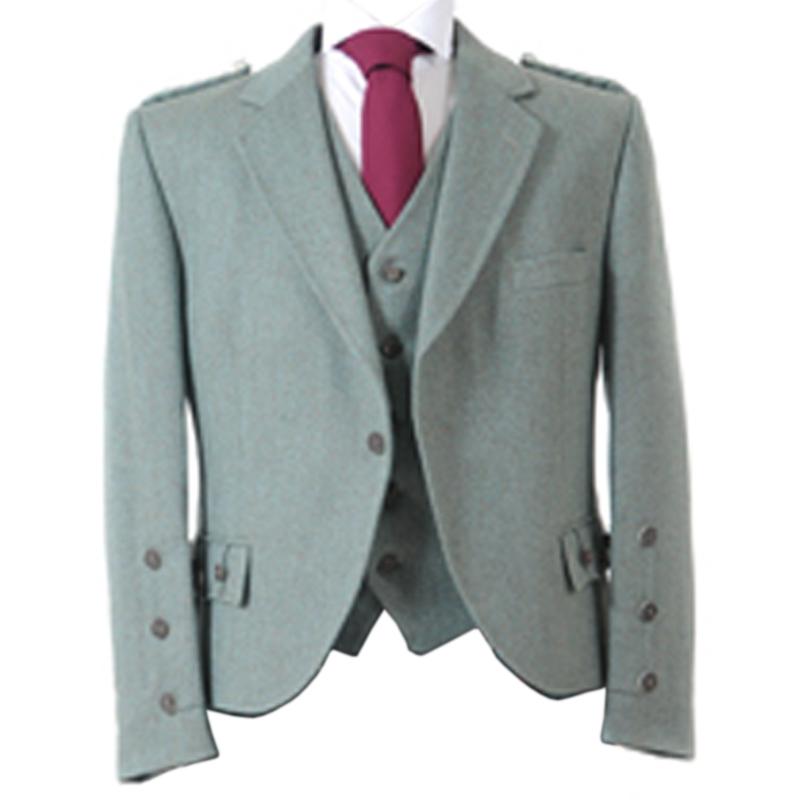 Tweed Argyll Kilt Jacket and Waistcoat in Moss