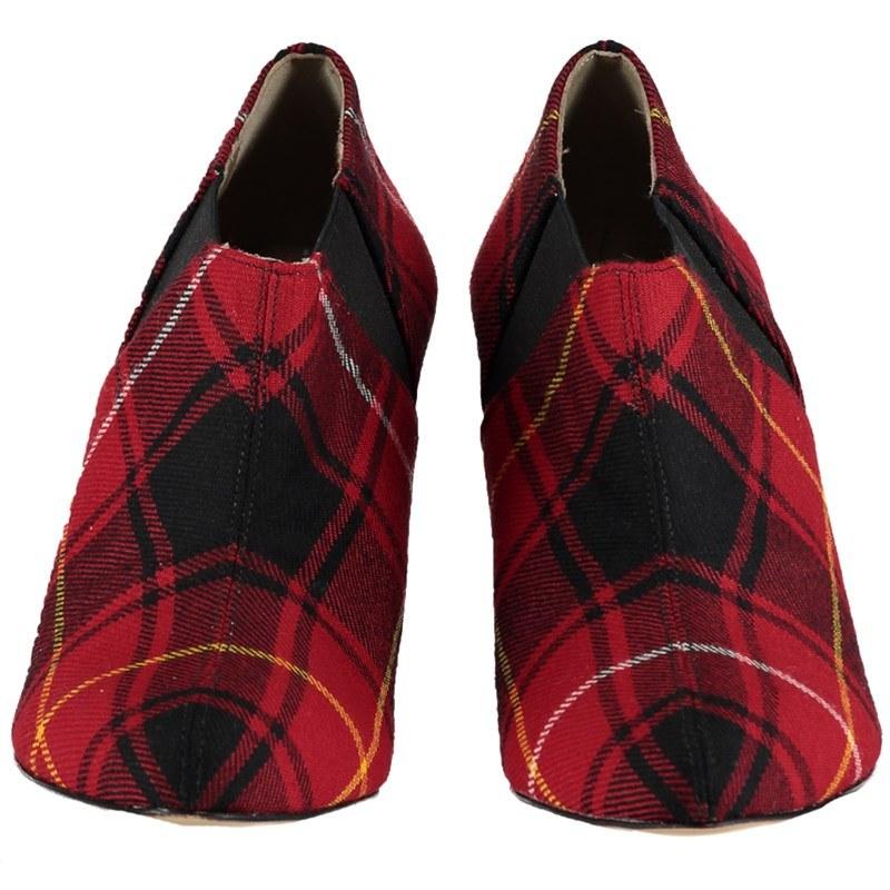 Narrow Heel Tartan Boots Front