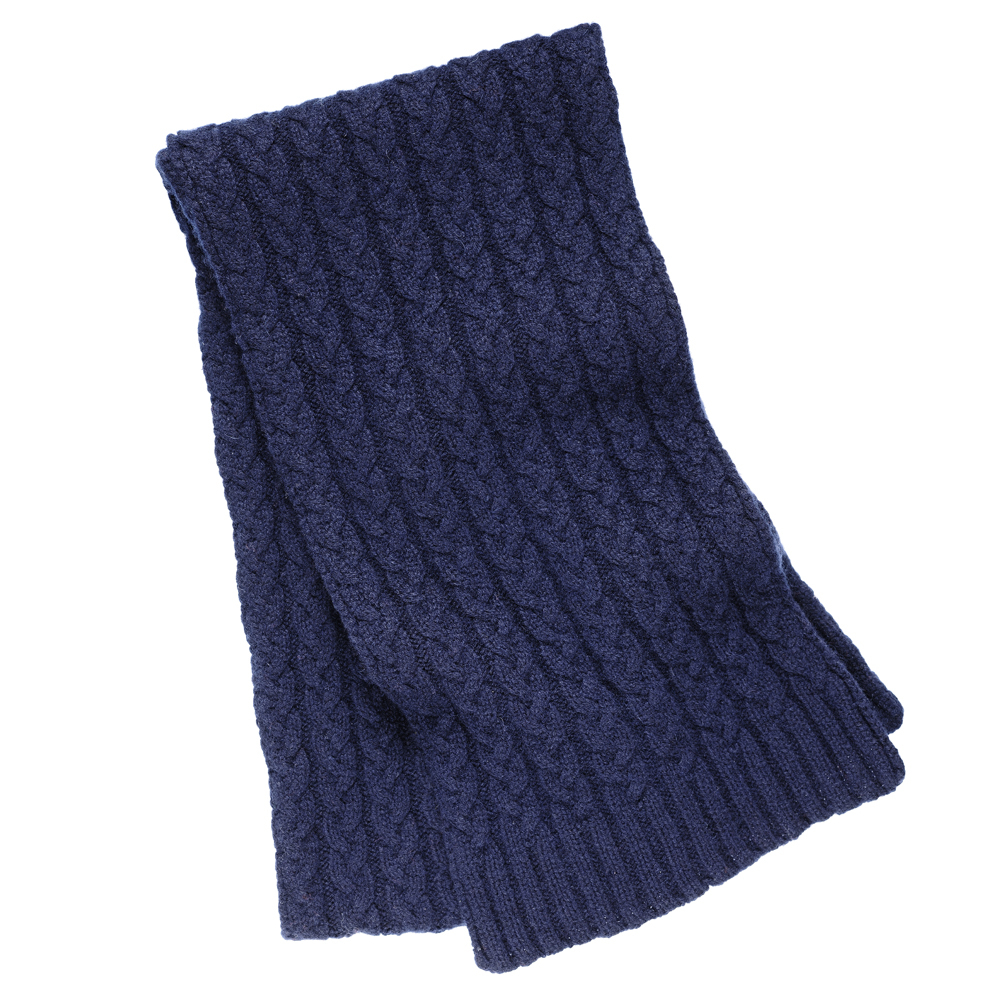 Cable Knit Cashmere Scarf in Navy Blue