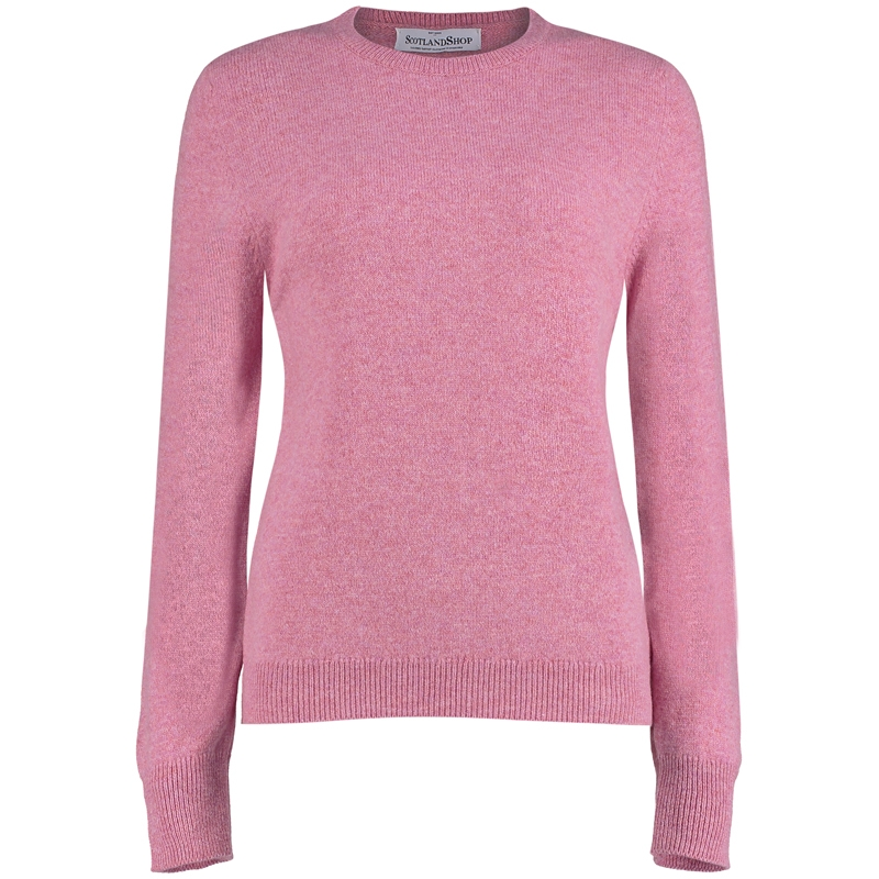 Women's Round Neck Lambswool Sweater in Nougat