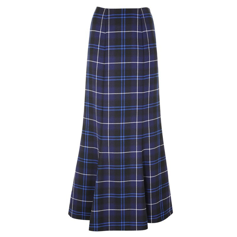 Patriot Modern Womens Long Fluted Tartan Skirt Copy