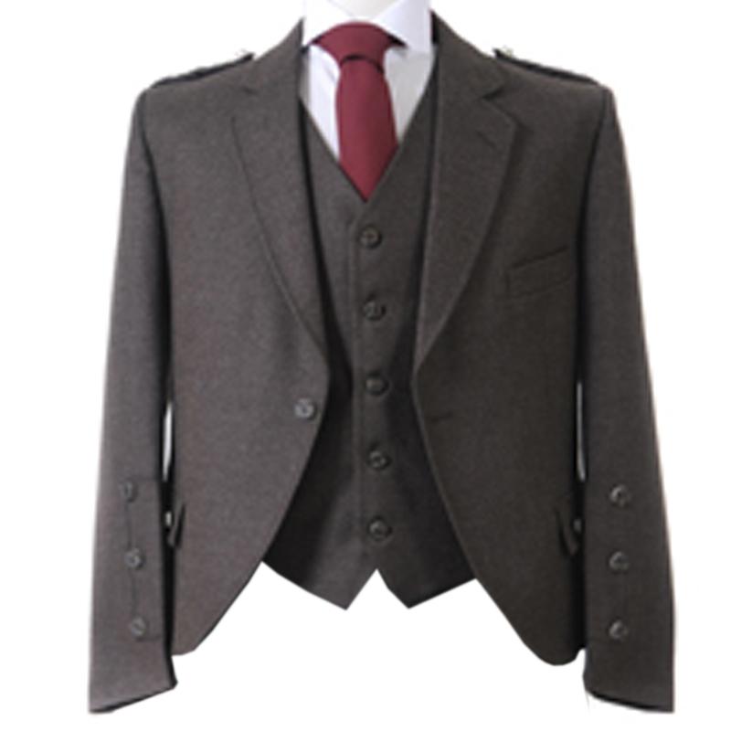 Tweed Argyll Kilt Jacket and Waistcoat in Peat