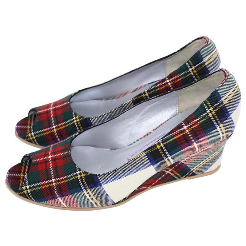 Peep Toe Wedge Heel Tartan Shoes - Stewart Dress Modern