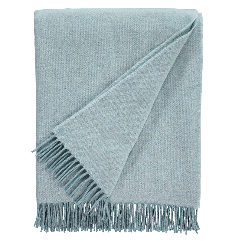 Plain Lambswool Throw Aqua