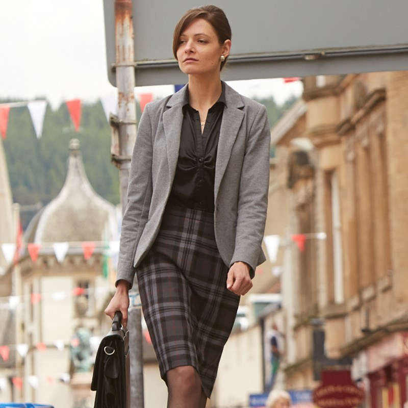 Pride Of Scotland Silver Tartan Pencil Skirt