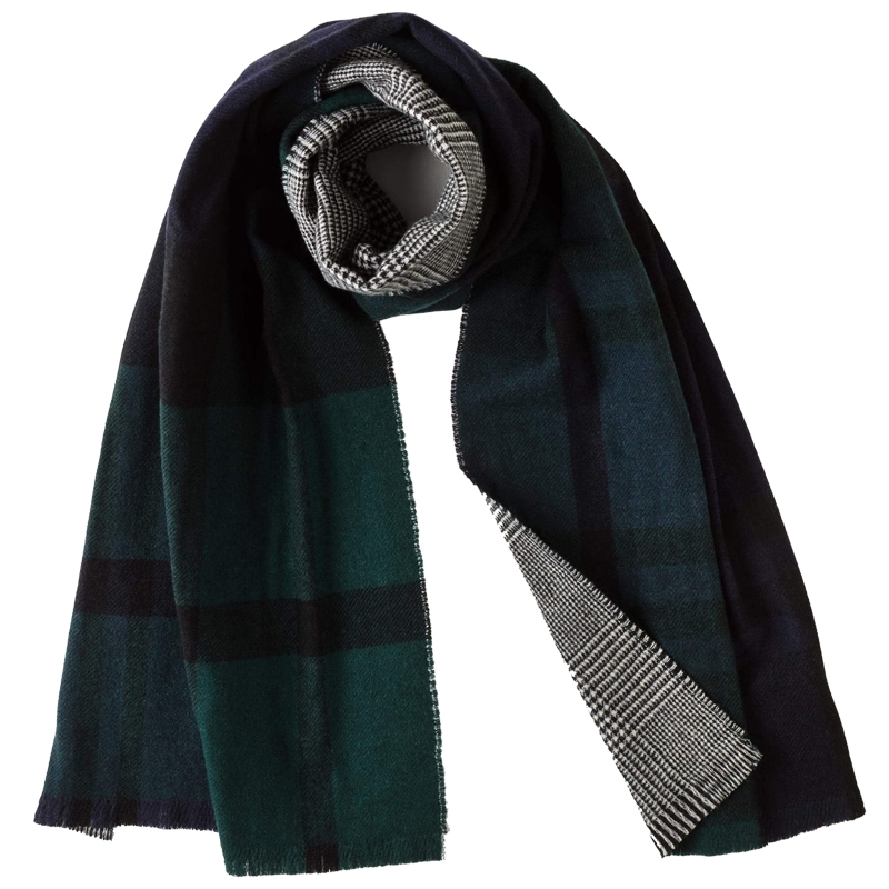 Reversible Tartan Scarf in Black Watch Modern / Glencheck