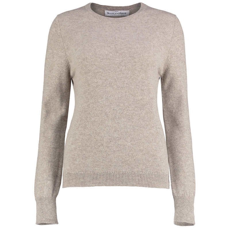 Women's Round Neck Lambswool Sweater in Cobble