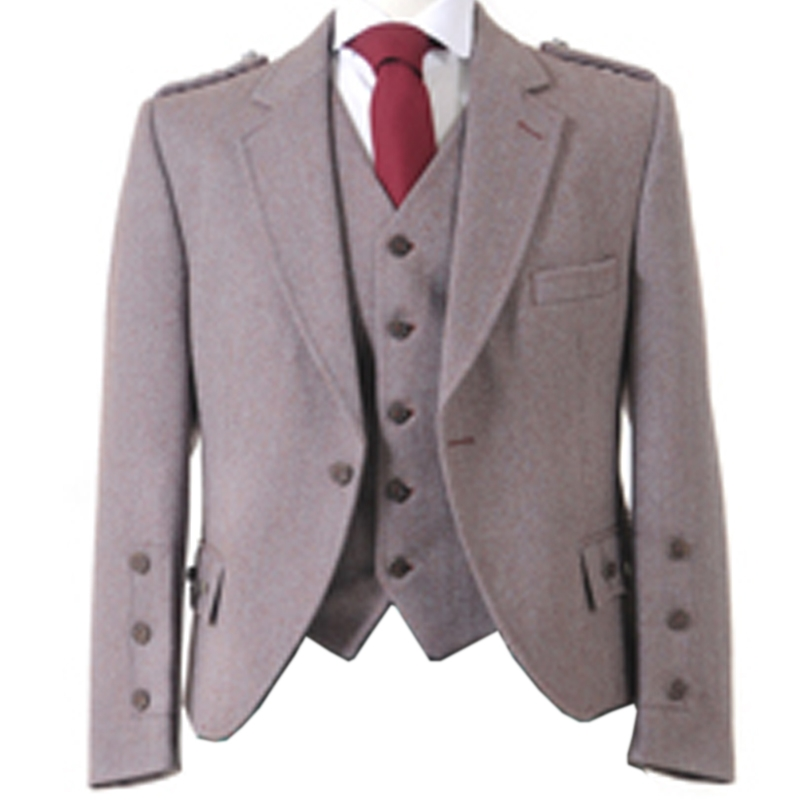 Tweed Argyll Kilt Jacket and Waistcoat in Russet