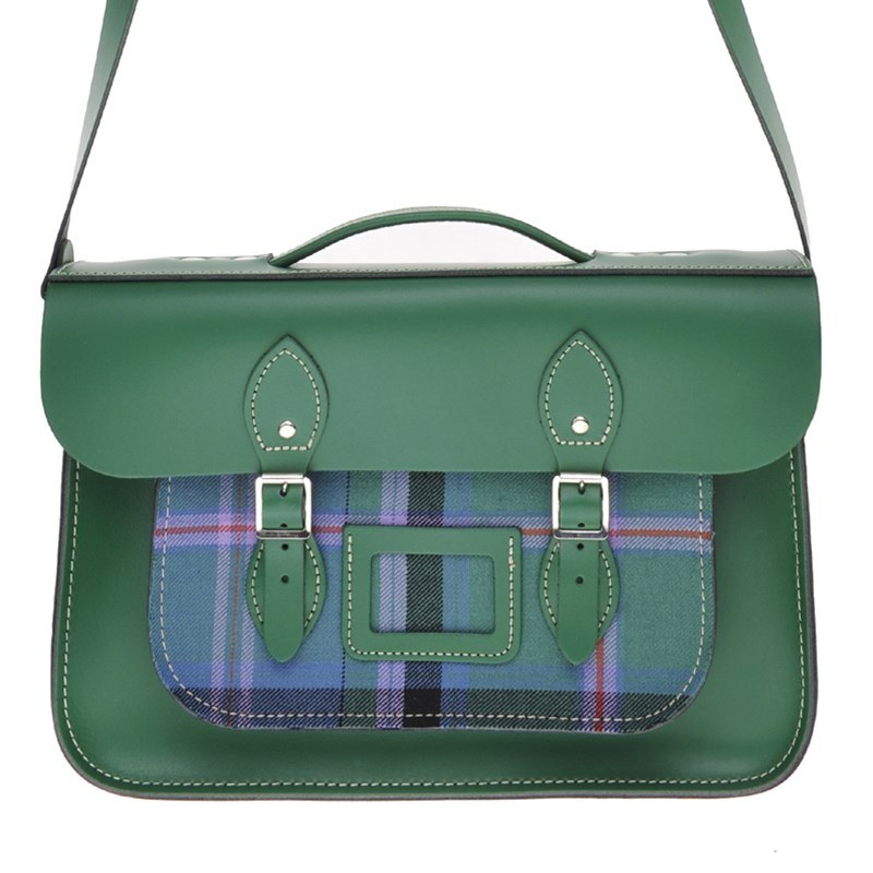 Sherwood Green Tartan And Leather Satchel