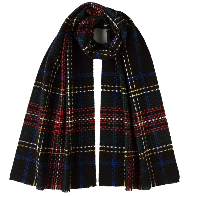 Exploded Tartan Cashmere Scarf in Stewart Black